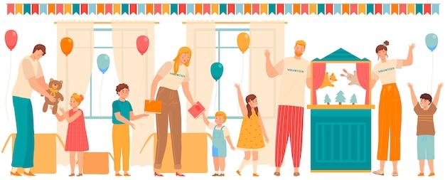 Vrijwilligers mensen spelen met kinderen en geven cadeautjes aan kinderen in een weeshuis of school, illustratie