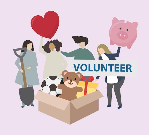 Vrijwilligers met de illustratie van liefdadigheidspictogrammen