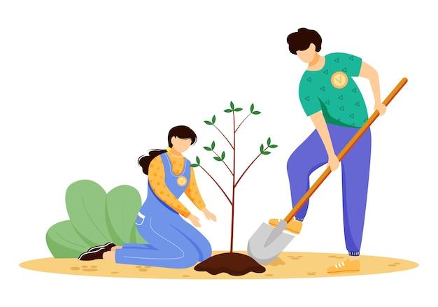 Vrijwilligers planten boom illustratie. jonge man en vrouw, milieuactivisten stripfiguren op witte achtergrond. natuurbehoud, ecologie bescherming concept