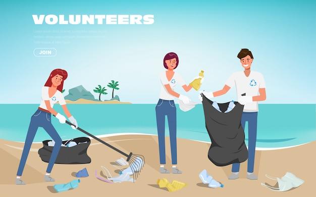 Vrijwilligers redden de oceanen van plasticvervuiling. afval op het strand. stop plastic poster banner achtergrond.