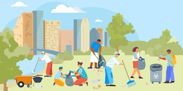 Vrijwilligers vervuilen compositie met stadsgezichtillustratie en een groep platte menselijke karakters met schoonmaakgerei
