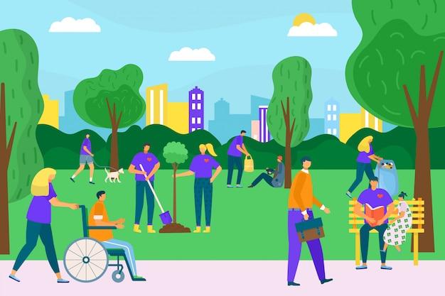 Vrijwilligersmensen in parkaard, illustratie. stadsmilieu gemeenschap met man vrouw. vrijwilligerswerk doen voor sociale hulp, zorg voor ecologie en afval. persoon groep samen concept.