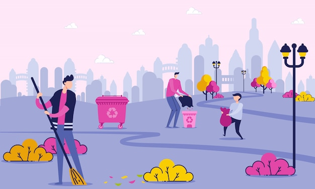 Vrijwilligerspersonages cleaning park in de buurt van city.