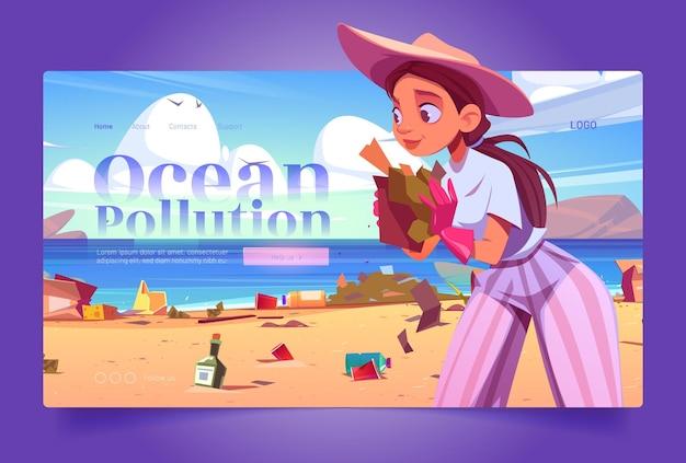 Vrijwilligerswebsite over oceaanvervuiling met vrouw verzamelt afval op het strand