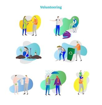 Vrijwilligerswerk concept collectie