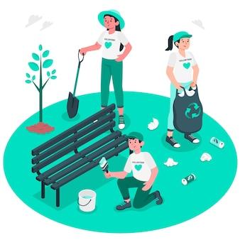 Vrijwilligerswerk concept illustratie