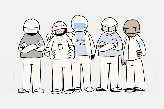 Vrijwilligerswerk doodle vector, ondersteunende concept