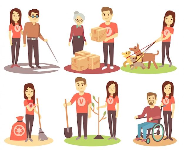 Vrijwilligerswerk en ondersteunende mensen vector vlakke pictogrammen met jonge vrijwilligersmensen