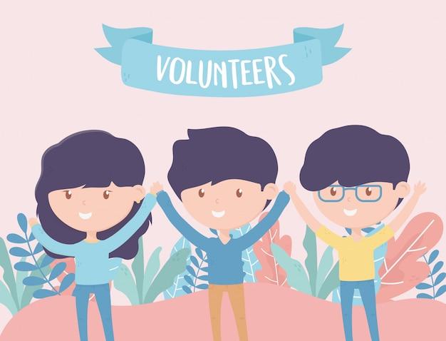 Vrijwilligerswerk, help liefdadigheidsjongeren vrijwilligers handen omhoog