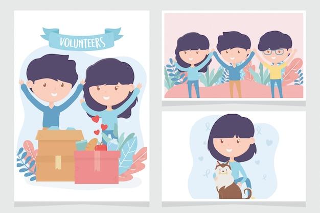 Vrijwilligerswerk, help liefdadigheidsmensen doneren community support kaarten