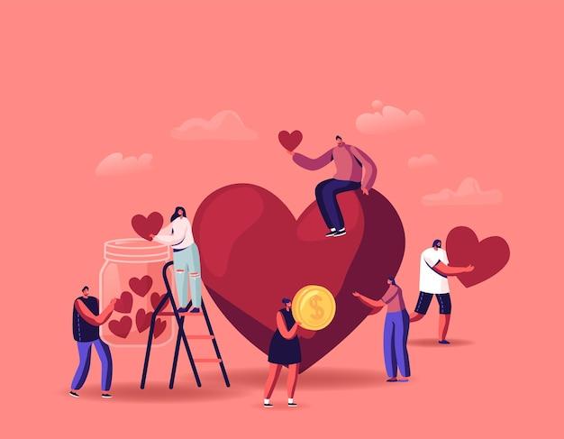 Vrijwilligerswerk, illustratie van liefdadigheidsondersteuning, kleine vrijwilligerspersonages die harten verzamelen in donatiepot