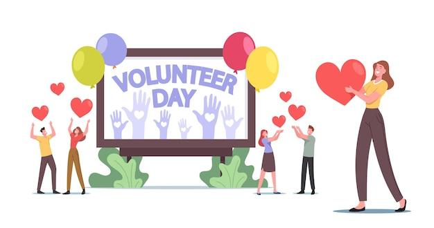 Vrijwilligerswerk, liefdadigheidsondersteuningsconcept. vrijwilligers mannelijke en vrouwelijke personages vieren internationale vrijwilligersdag, mensen met harten en ballonnen vrijwilligerswerk. cartoon vectorillustratie