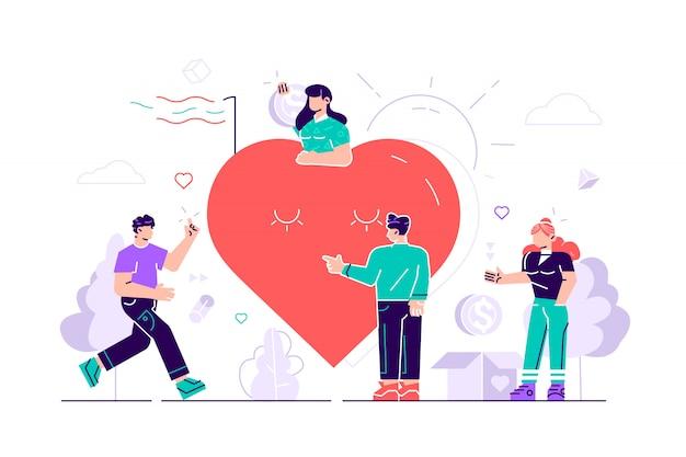 Vrijwilligerswerk. team helpt liefdadigheid en het delen van hoop. zorg, liefde. een goede hartgemeenschap ondersteunt arme, dakloze en oudere mensen. mensen geven om schattige glimlach groot rood hart. vrijwilligers. plat, vector.