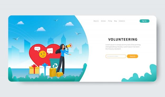 Vrijwilligerswerk vector illustratie concept. vrijwilligersvrouw helpt liefdadigheid en hoop delen