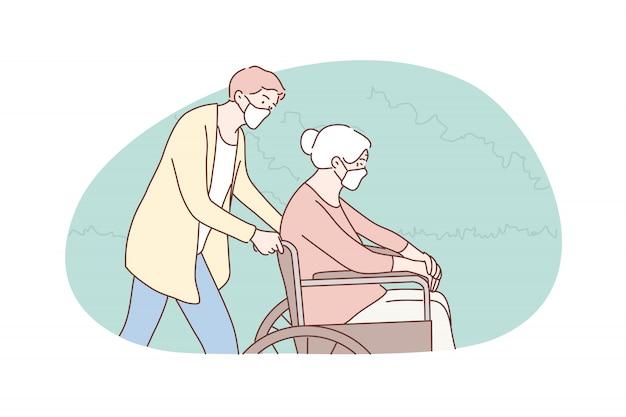Vrijwilligerswerk, zorg, geneeskunde, coronavirus, handicap, gezondheidszorg concept