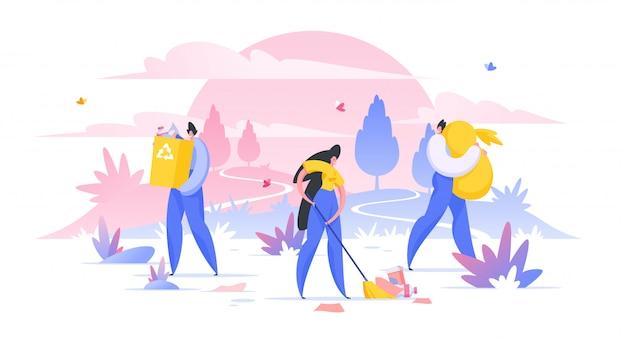 Vrijwilligerswerknemers die wilde natuurgebied samen illustratie schoonmaken