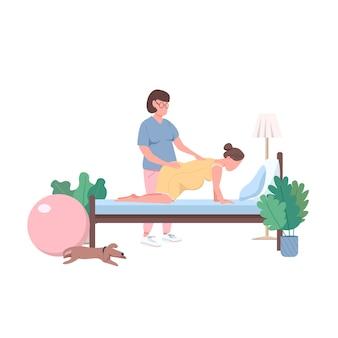 Vroedvrouw met anonieme karakters in egale kleur. alternatieve bevalling thuis. professionele doula. vruchtbare geïsoleerde cartoon afbeelding voor web grafisch ontwerp en animatie
