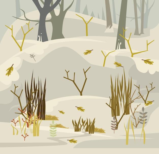 Vroege lente in bos platte cartoonillustratie