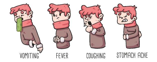 Vroege tekenen van braken van het coronavirus, koorts, hoesten en buikpijn bij het tekenen van een jongen