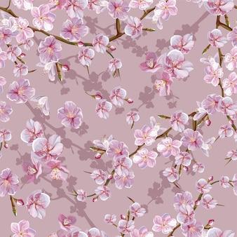Vrolijk bloesem naadloos patroon