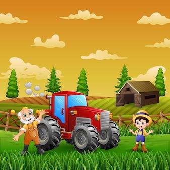 Vrolijk de boer op het landschap van het boerenland