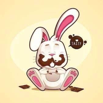 Vrolijk en grappig vies chocolade konijn met chocolade