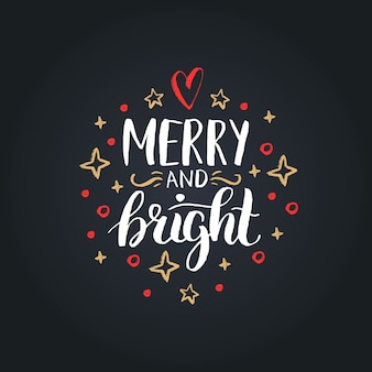 Vrolijk en helder belettering op feestelijke achtergrond. hand getekend kerst illustratie.