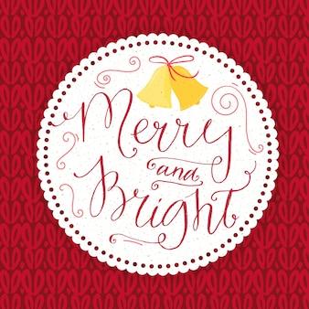 Vrolijk en helder. kerstkaart met kalligrafie in vintage stijl. wit rond papieren frame op rode gebreide vectortextuur.