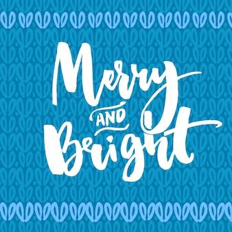 Vrolijk en helder type. kerst wenskaart. vector handgeschreven tekst op blauwe gebreide textuur.