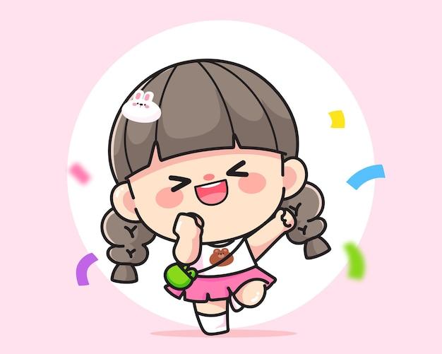 Vrolijk gelukkig schattig meisje steekt haar handen omhoog logo handgetekende cartoon kunst illustratie