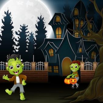 Vrolijk halloween met zombie en frankenstein