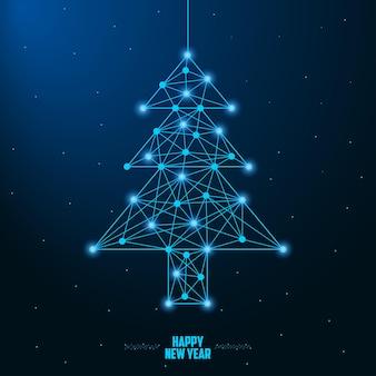 Vrolijk kerst- en nieuwjaarsontwerp met een kerstboom van laag poly gemaakt door punten en lijnen
