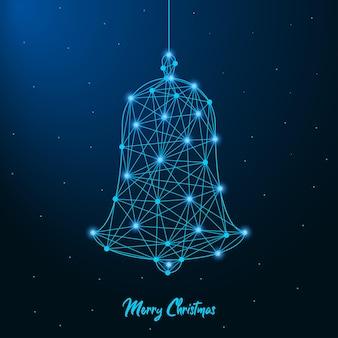 Vrolijk kerst- en nieuwjaarsontwerp met een laag poly-kerstbel gemaakt door punten en lijnen