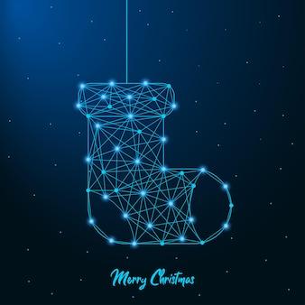 Vrolijk kerst- en nieuwjaarsontwerp met laag poly kerstsok gemaakt door punten en lijnen