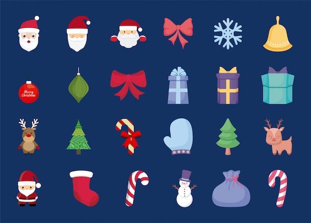 Vrolijk kerst iconen set