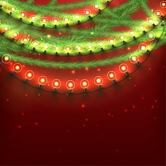 Vrolijk kerst ontwerp met lichten en slingers
