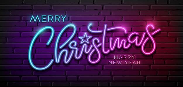 Vrolijk kerstbericht neonlicht