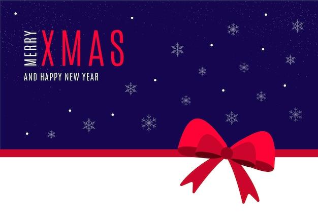Vrolijk kerstbericht op blauw behang