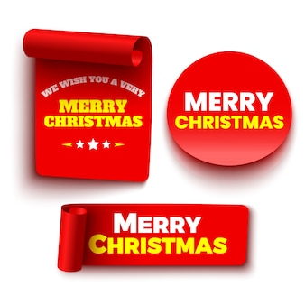 Vrolijk kerstboodschap op linten en sticker
