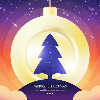 Vrolijk kerstboom ruimteconceptontwerp