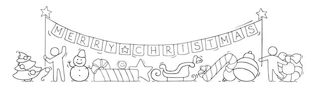 Vrolijk kerstconcept. cartoon doodle illustratie met kleine mensen bereiden zich voor op feest.