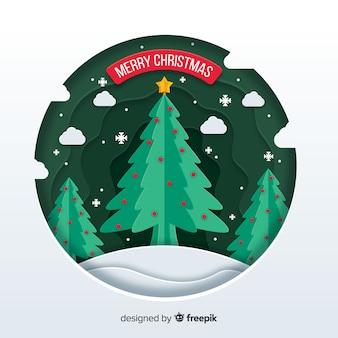 Vrolijk kerstconcept in papierstijl