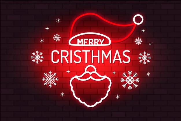 Vrolijk kerstconcept met neonontwerp