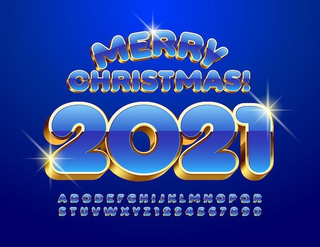 Vrolijk kerstfeest 2021. blauw en goud 3d-lettertype. alfabetletters en cijfers ingesteld