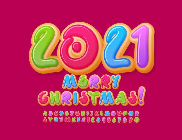 Vrolijk kerstfeest 2021. kleurrijke donut alfabetletters en cijfers ingesteld Premium Vector
