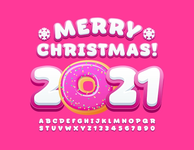 Vrolijk kerstfeest 2021. leuke alfabetletters en cijfers ingesteld Premium Vector