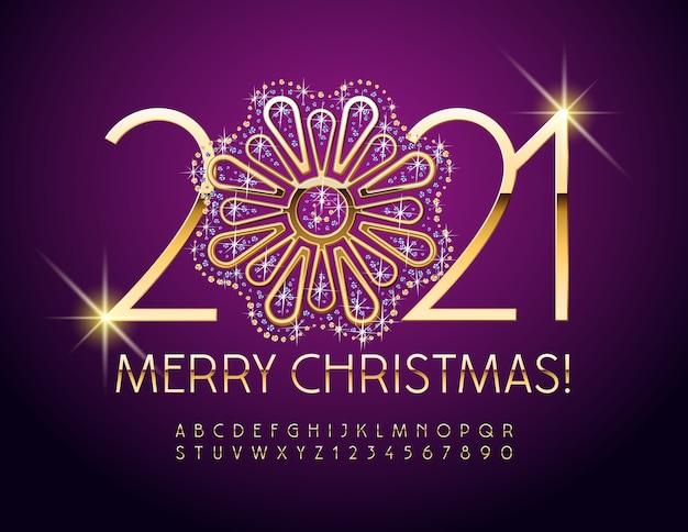 Vrolijk kerstfeest 2021 met decoratieve gouden en schitterende bloem. luxe glanzend lettertype. chique alfabetletters en cijfers ingesteld