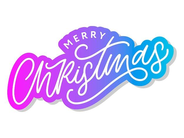 Vrolijk kerstfeest 2021 mooie wenskaartposter met kalligrafie zwart tekstwoord Premium Vector