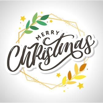 Vrolijk kerstfeest 2021 mooie wenskaartposter met kalligrafie zwart tekstwoord