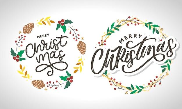 Vrolijk kerstfeest 2021 mooie wenskaartposter met kalligrafie zwart tekstwoord.